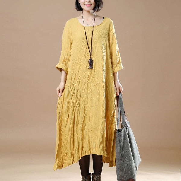 Women Retro Round Neck Linen Yellow Dress - Buykud