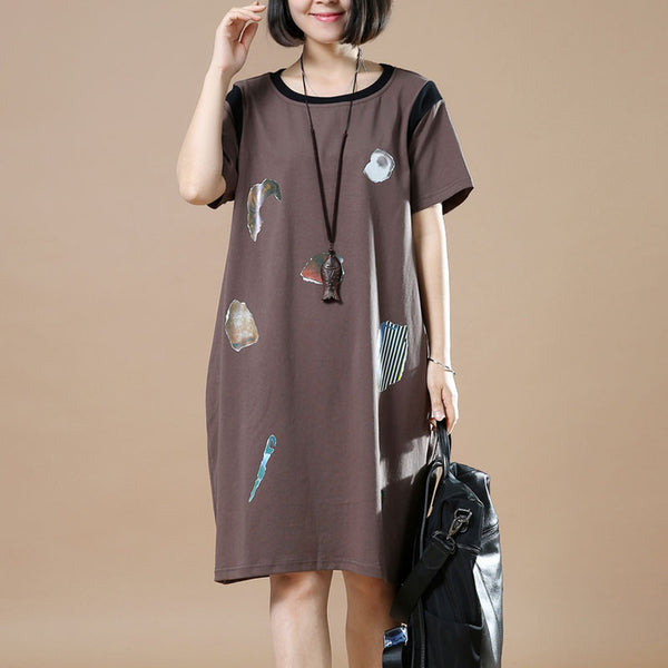Casual Loose Round Neck Printing Coffee Dress