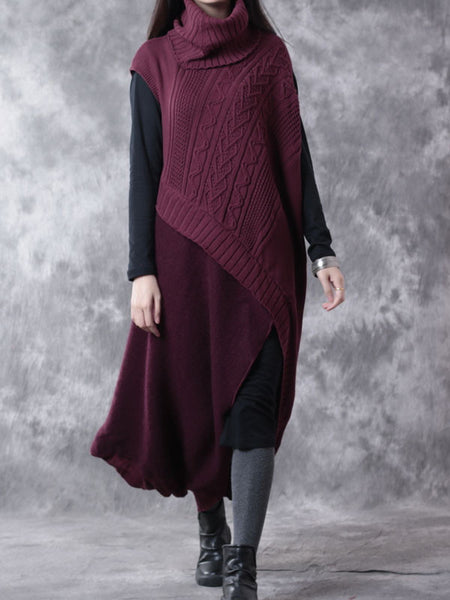 Red Wool Two Piece Sweater And Dress