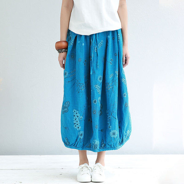 Literature Stripe Floral Printing Loose Women Blue Skirt - Buykud