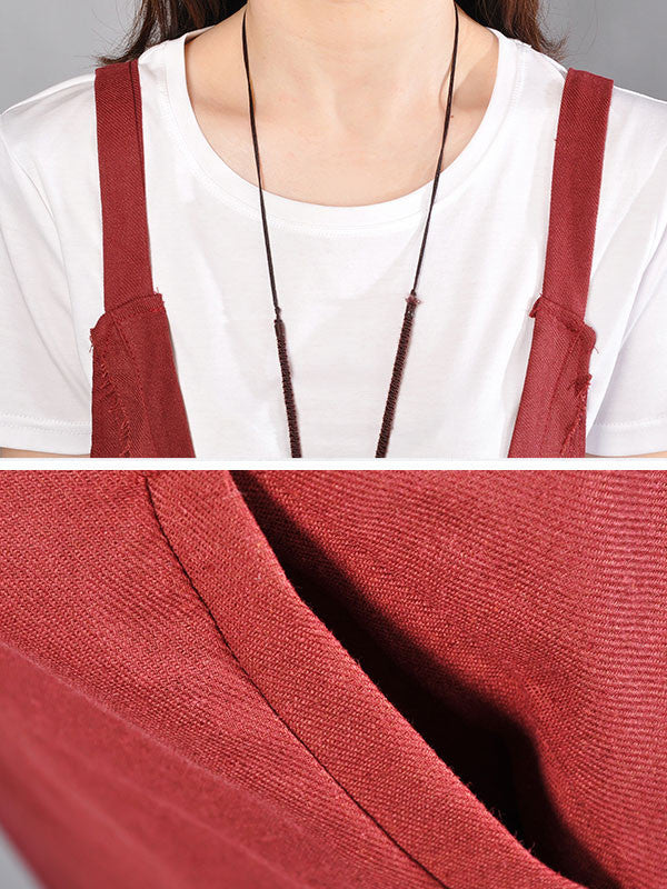 a252b49bc ... Loose Solid Pocket Sleeveless Wine Red Suspender Skirt - Buykud