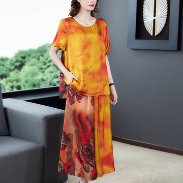 Plus Size Prints Summer Chiffon Women Two Pieces Set