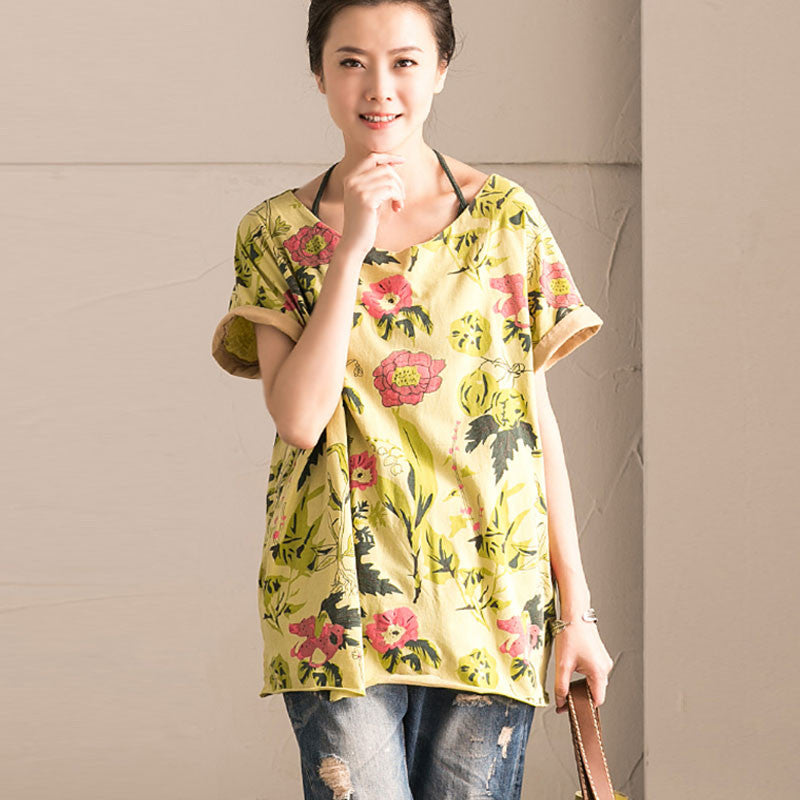 Floral Women Splicing Loose Cotton Shirt