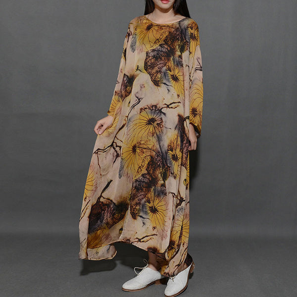 Spring Round Neck Printing Loose Yellow Dress