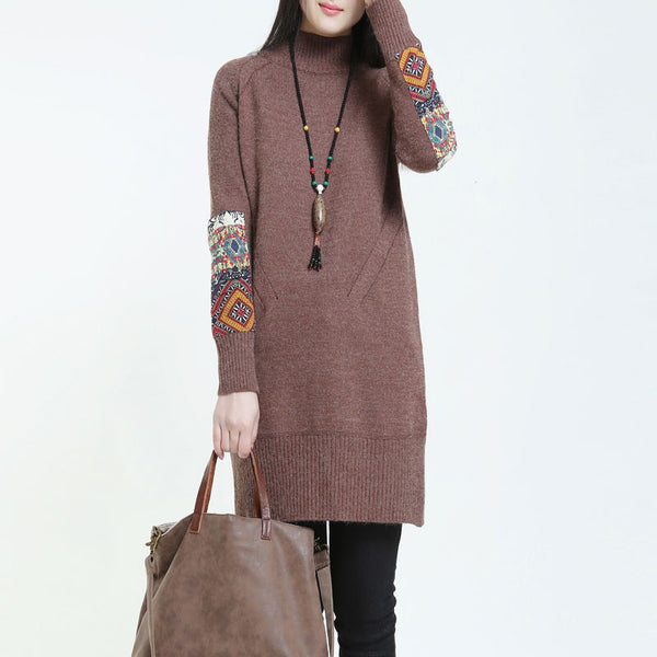 Half Turtleneck Ethnic Style Loose Coffee red Sweater
