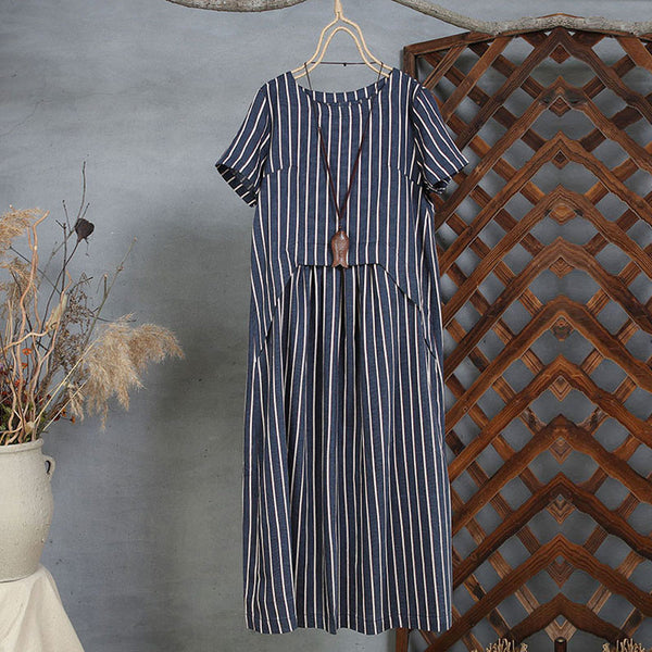 Splicing Summer Women Loose Casual Stripe Cotton Linen Navy Blue Dress - Buykud