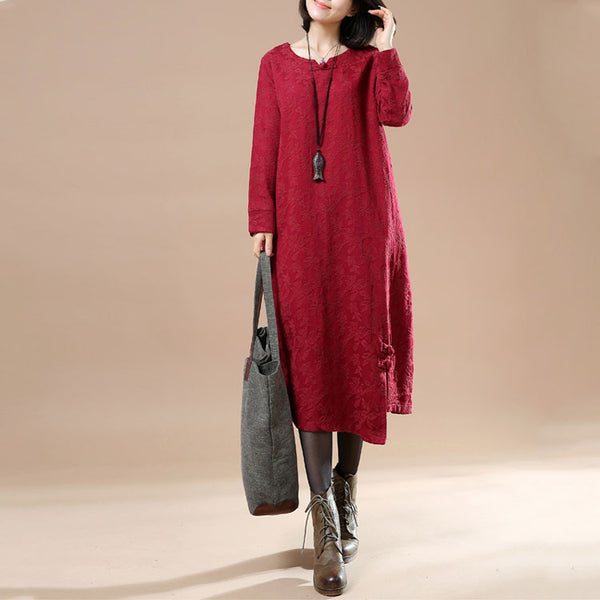 Autumn Large Size Women's Casual Long Sleeve Round Neck Plate Buttons Jacquard Dress