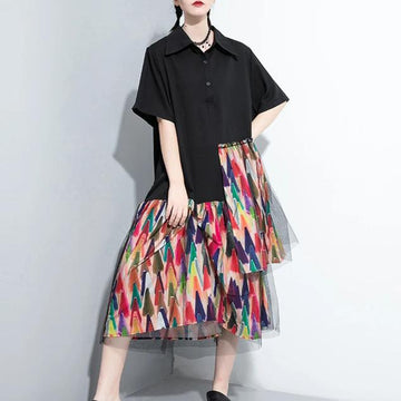 Patchwork Irregular Polo Collar Loose Dress