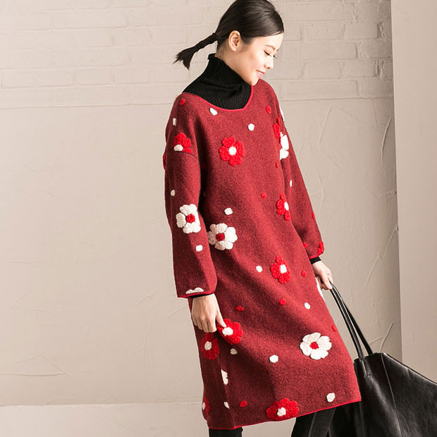 Floral Round Neck Winter Red Dress - Buykud