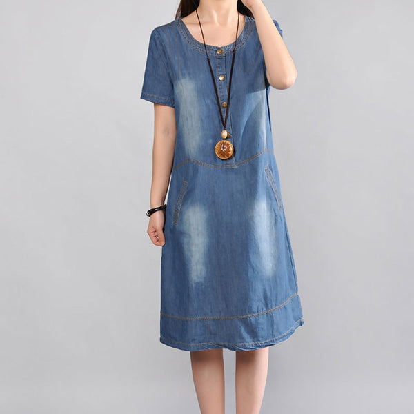 Women Summer Loose Cotton Pocket Casual Dress