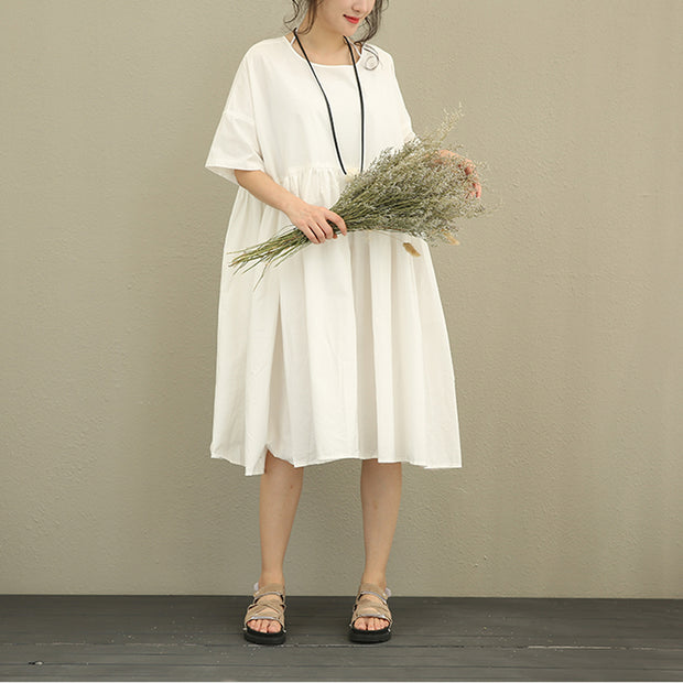 Cotton Round Neck Half Sleeves Pleated White Women Dress - Buykud