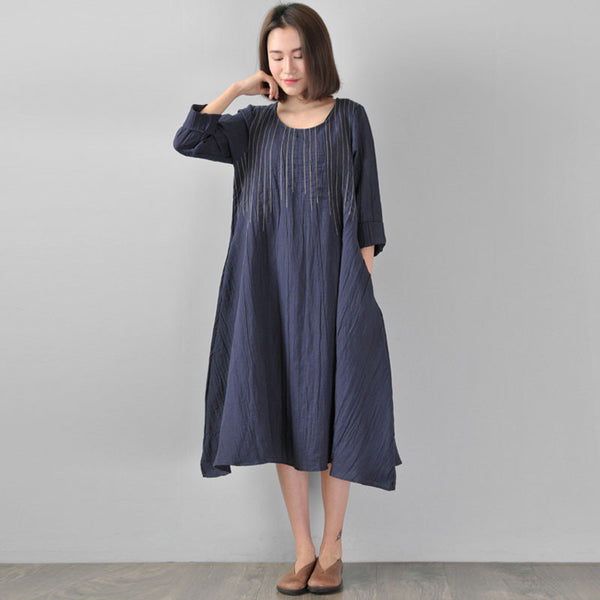 Loose Linen Spring Women Deep Blue Dress