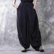 Women casual loose cotton linen pants - Buykud