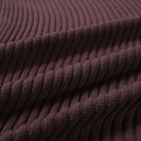 Wine Red Striped Stitching Sweater