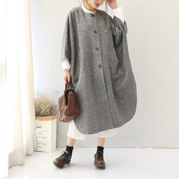 Autumn Winter Women Loose Shoulder Sleeve Overcoat - Buykud