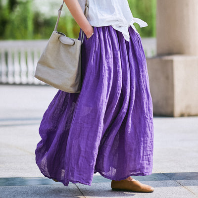 Retro Summer Pockets Pleated Long Purple Skirts
