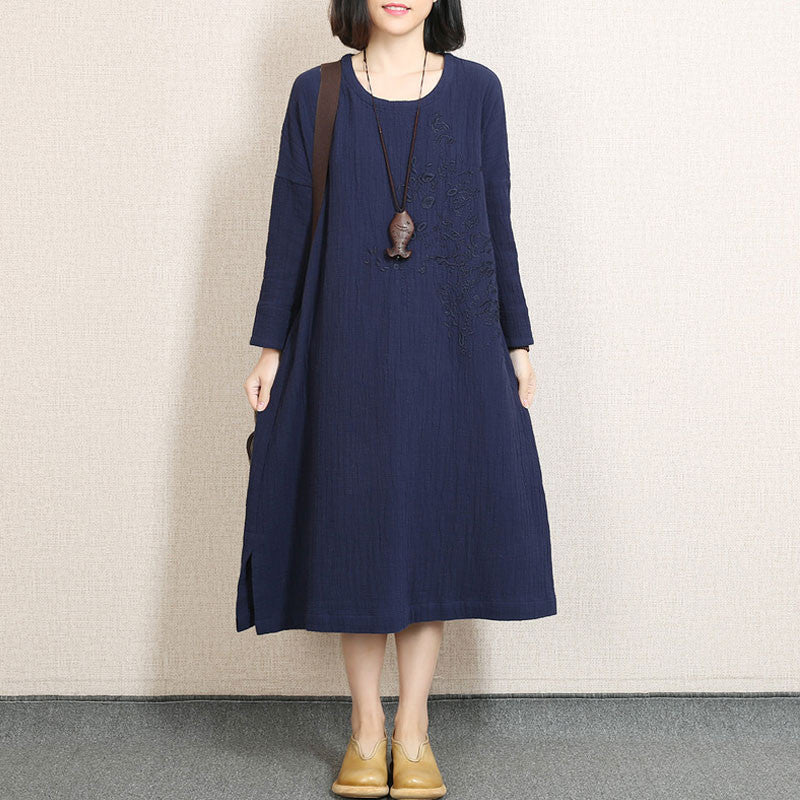 Round Neck Embroidered Linen Navy Blue Spring Dress - Buykud