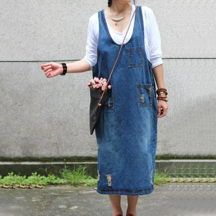 Denim Strap Casual Loose Dress
