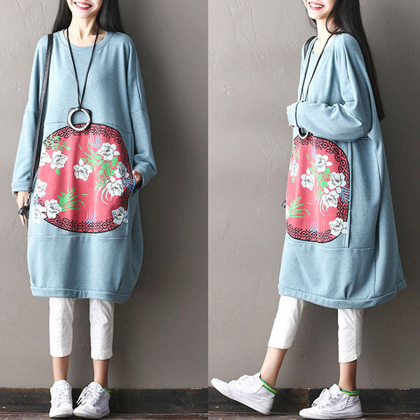 Spring Printing Casual Bat Sleeves Light Blue Long Dress - Buykud