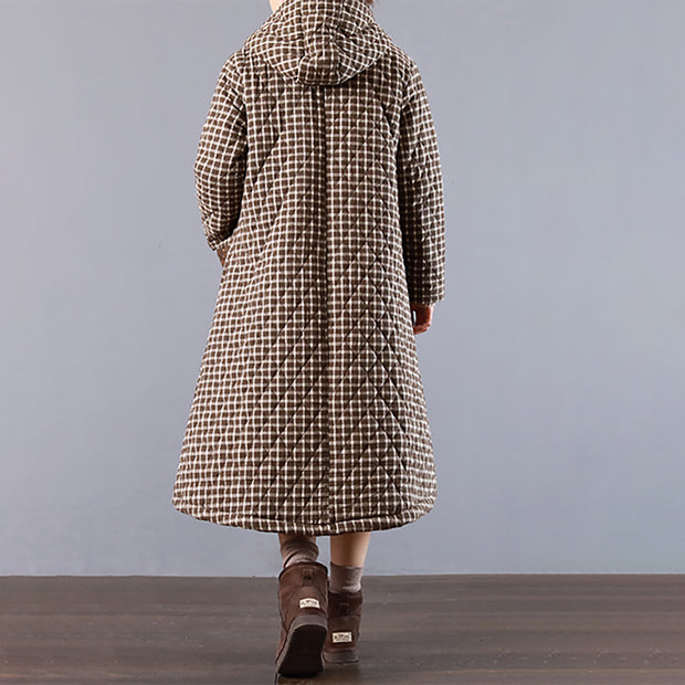 Plaid Hoodie Cotton Linen Women Long Coat