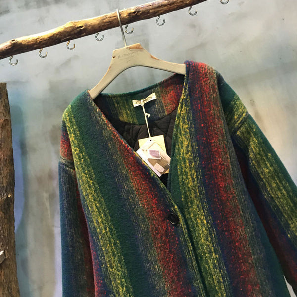 V Neck Striped Woolen Coat