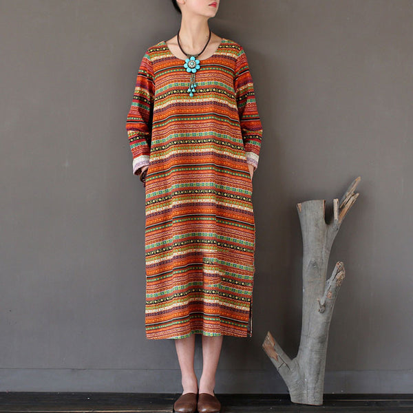 Stripe Women Retro Printing Cotton Linen Orange Dress