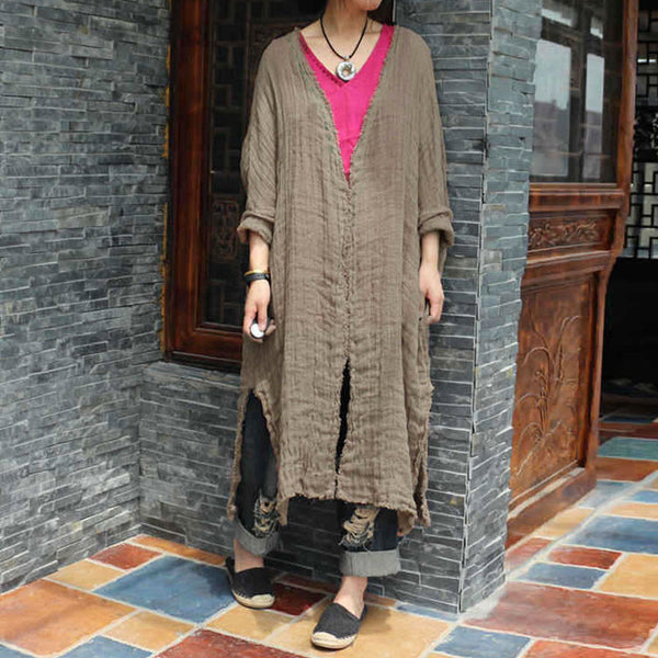 Linen Retro Women Loose Splitting Casual Khaki Coat