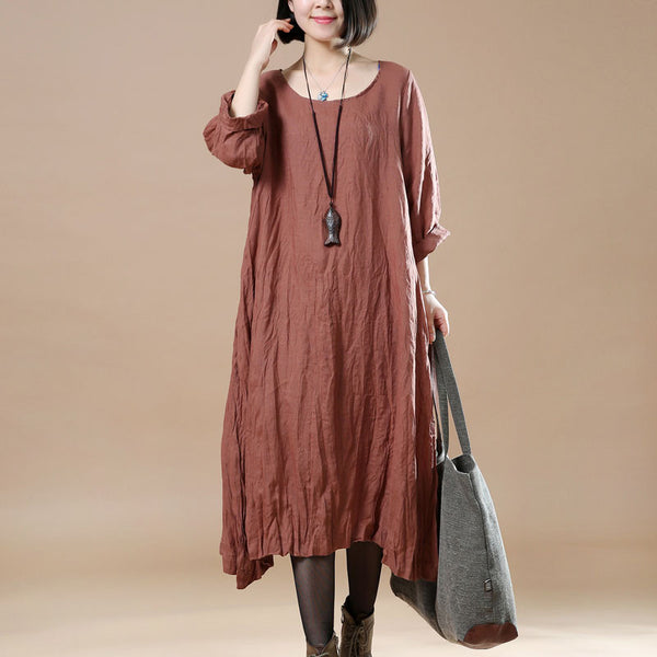 Women Retro Round Neck Linen Brown Dress - Buykud