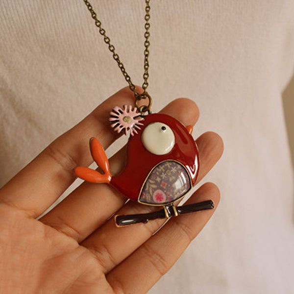 Women Metal Red Bird Retro Pendant Necklaces