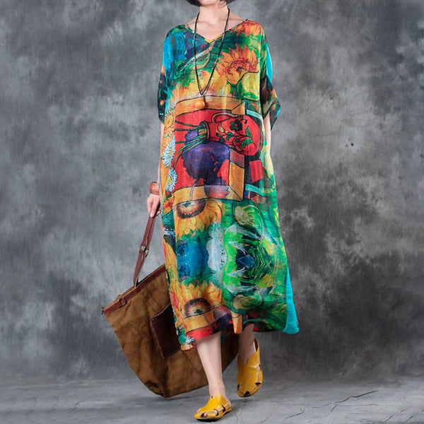 V Neck Printing Colorful Summer Women Dress