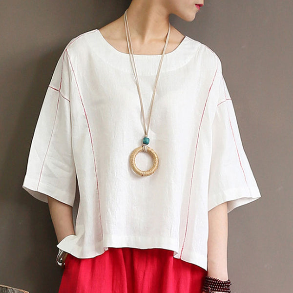 Loose Round Neck 1/2 Sleeve Women White Tops