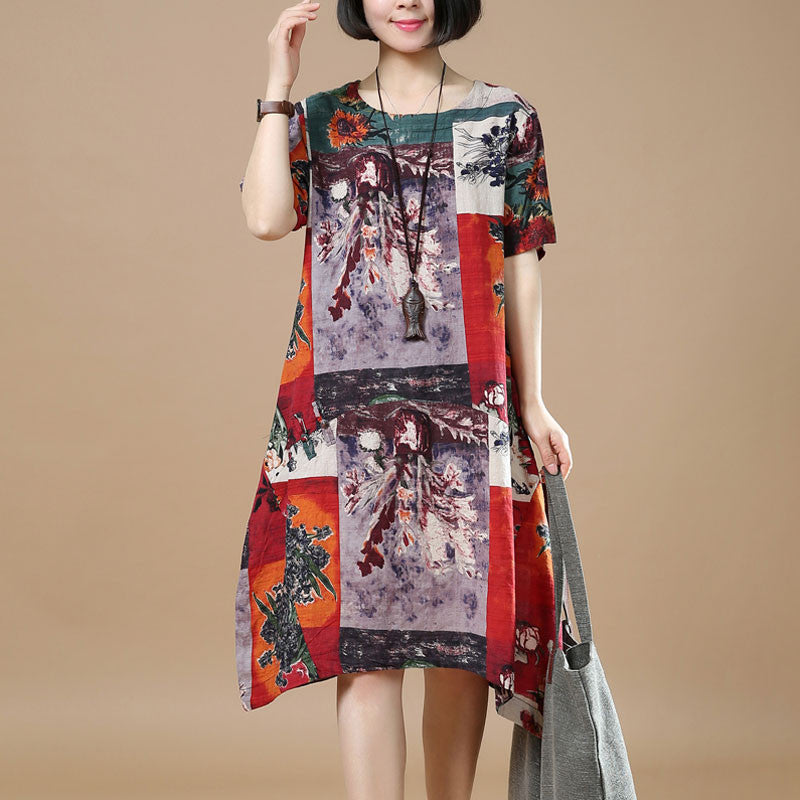 Summer Retro Printing Loose Red Dress - Buykud