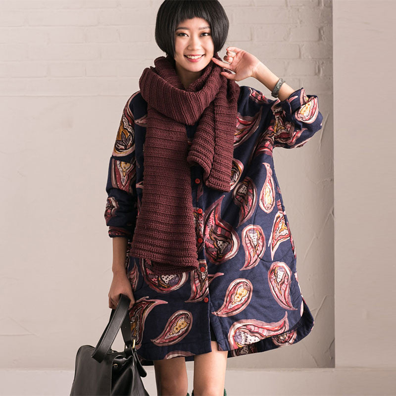Winter Printing Loose Thickening Cotton Blouse Coat