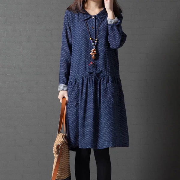 Linen Dot Drawstring Loose Blue Dress