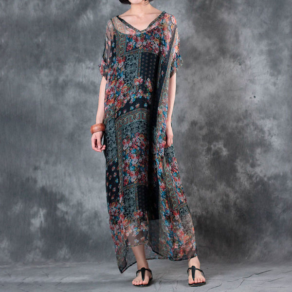 Floral V Neck Printing Women Summer Dress