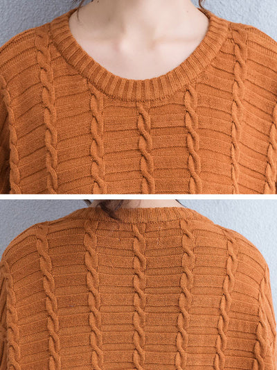 Round Neck Thickening Retro Deep Khaki Long Sweater - Buykud