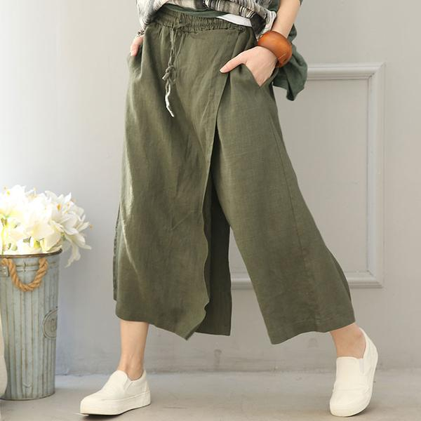 Women Cotton Linen Wide leg pants