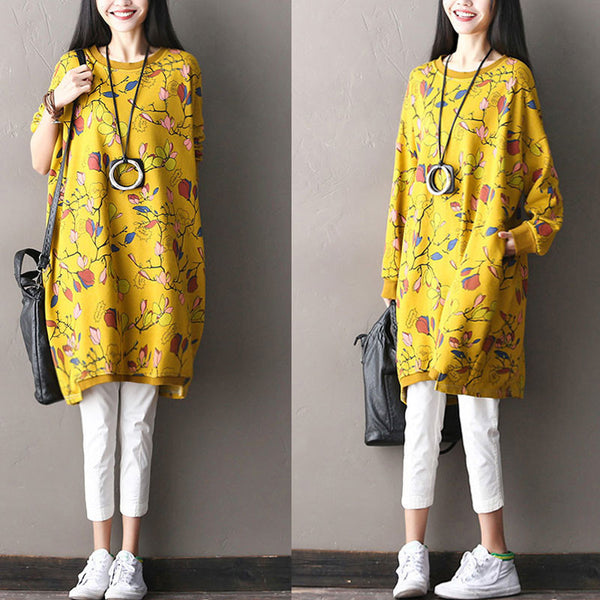 Cotton Round Neck Loose Printing Floral Dress