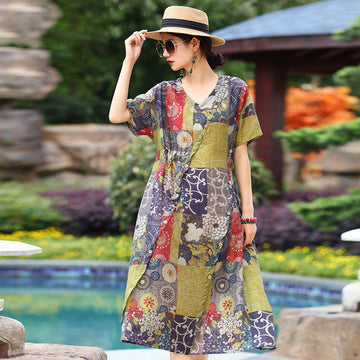 Patchwork Short Sleeve Floral Prints Lacing Dress