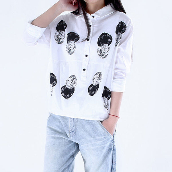 Printing Splicing Loose White Shirt