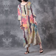 Women Summer Colorful Linen Dress - Buykud