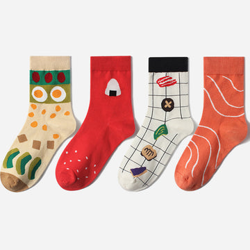 Cartoon Prints Student Couples Autumn Stockings