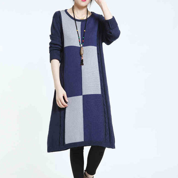 Casual Loose Stretch Sweater Bule Dress