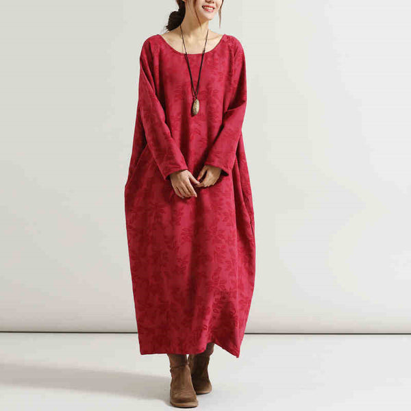Women Print Retro Cotton Linen Long Sleeve Dress - Buykud