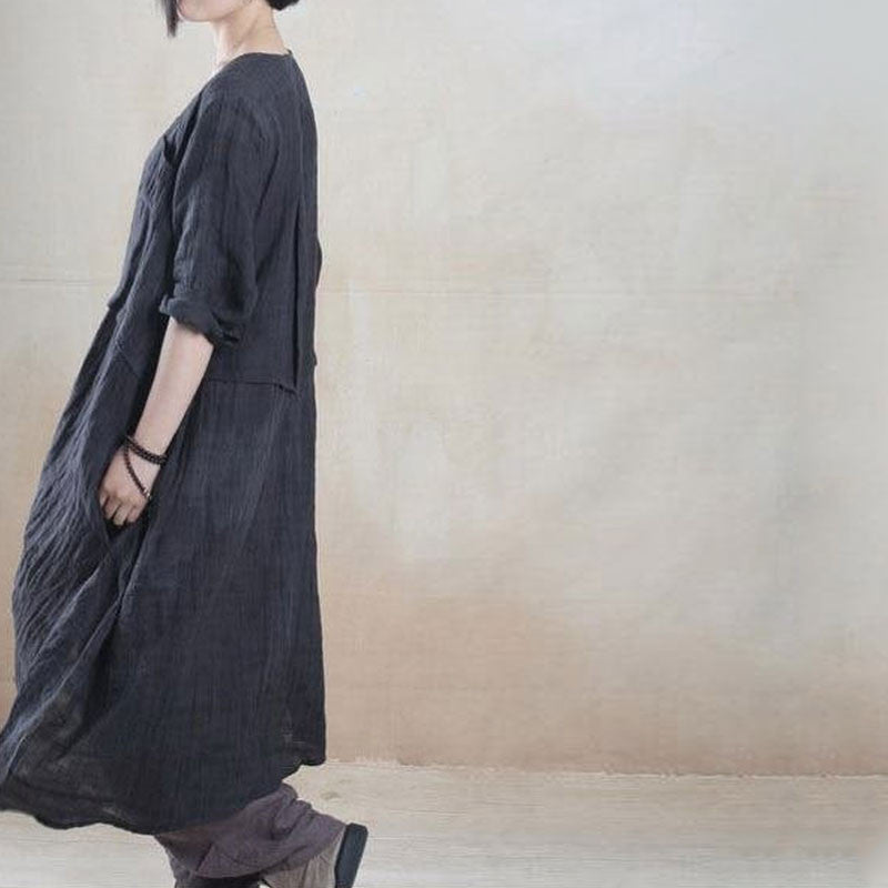 Women linen summer shirt dress - Buykud