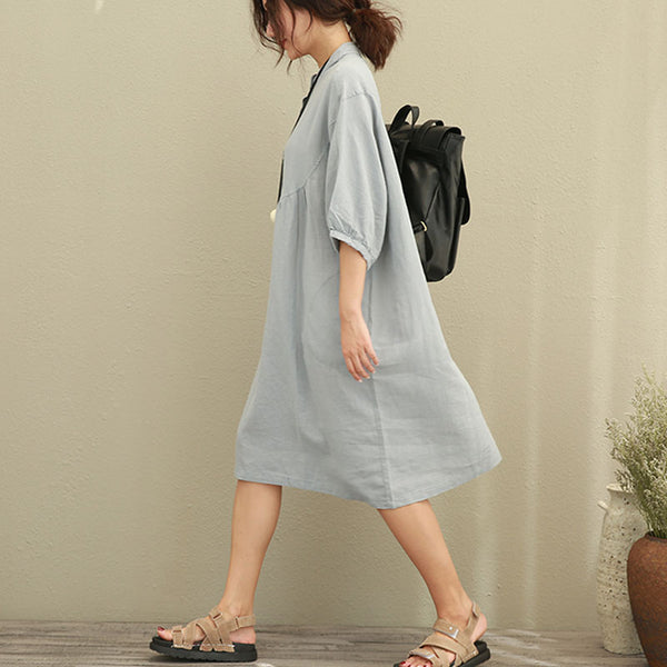 Casual Loose Women Stand Collar Half Sleeve Folded Dress - Buykud
