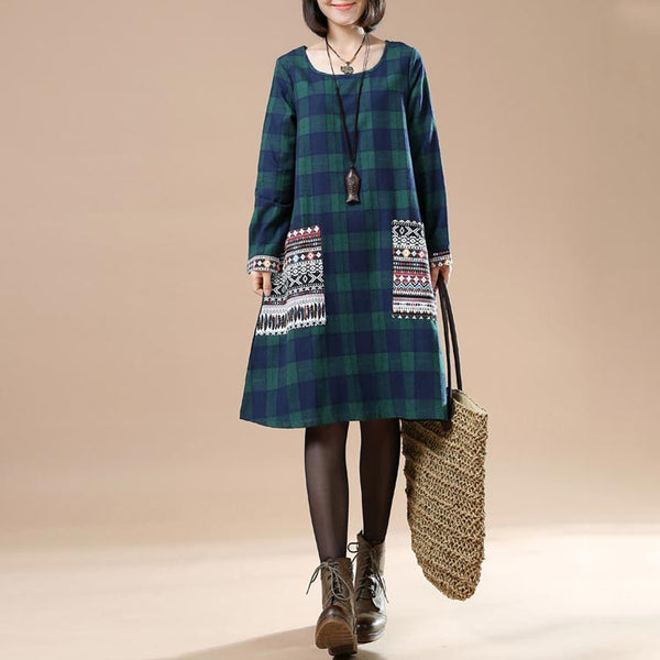 Women Green Large Size Autumn Plaid Long Sleeved Round Neck Pocket Dress