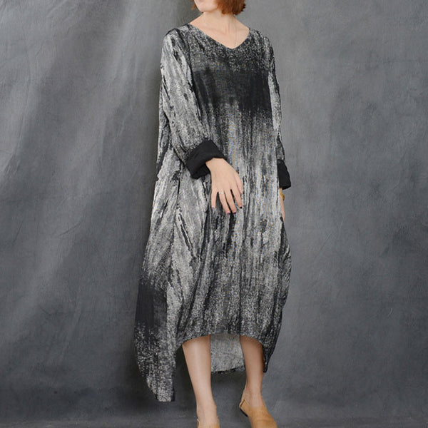 Cotton Linen Loose Irregular Dress