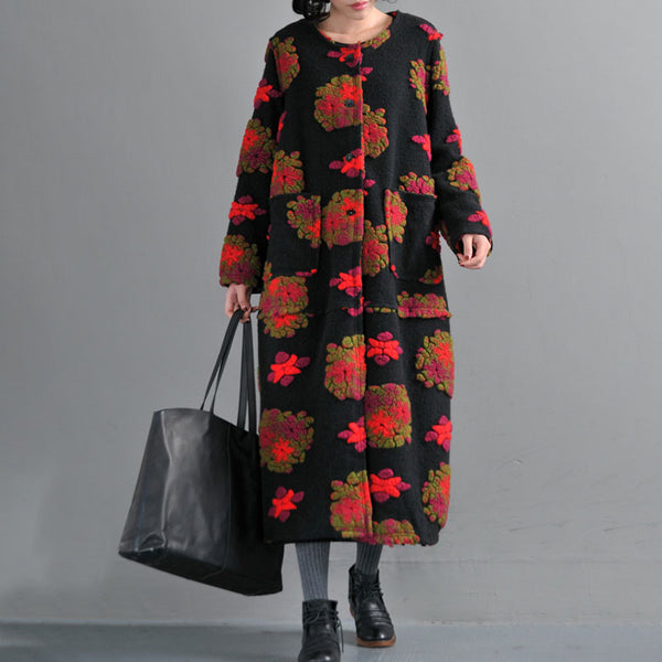 Women Retro Woolen Coat Winter Loose Overcoat
