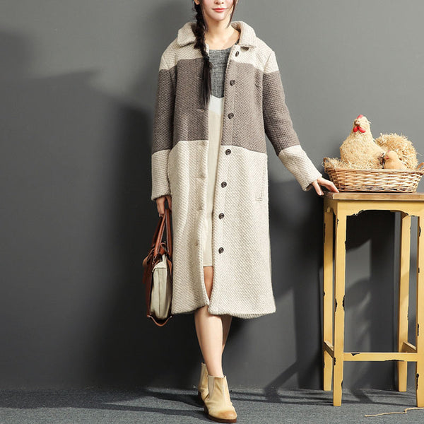 Color Matching Loose Coffee Overcoat